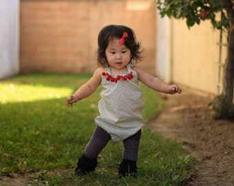 Tiny Pindots Romper, Baby Toddler Rompers, Sunsuit, Birthday Outfit, Girls Skirts, Bow, Boho, Headwrap, Polka Dots, Pom Poms, Gift,One Piece