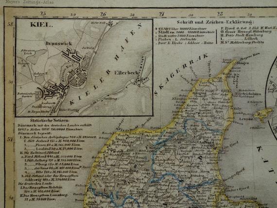 DENMARK old map of Denmark and Holstein 1849 original antique