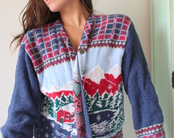 1970s FESTIVE Sweater.colorful. reindeer. retro. 1970s sweater. rad. fun. crop sweater. blue. gray. knit. christmas vacation. prep. nautical