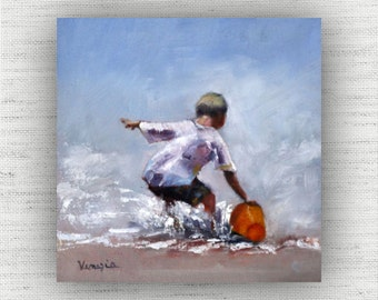 Fetch a Pail of Water - Oil Painting Art Print Home Decor Wall Art on Wood Block