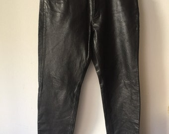 Real rocker pants made from real leather vintage style steep pants heavy pants motorcycle retro style men's black pants size - large (38).