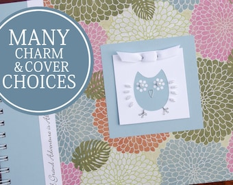 Personalized Pregnancy Journal | Gender Neutral Pregnancy Baby Memory Book | Mommy Journal | Hydrangeas with Owl Charm