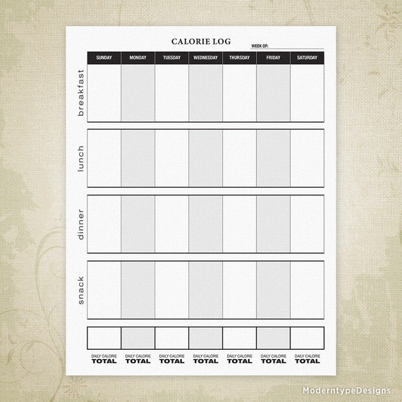 calorie log printable form fitness tracker daily calorie