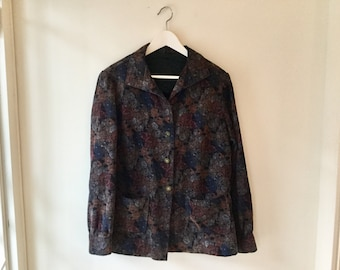 90s floral corduroy jacket M/L / vintage purple butterfly button up cotton blazer / boho earth tone pocket long sleeve shirt top