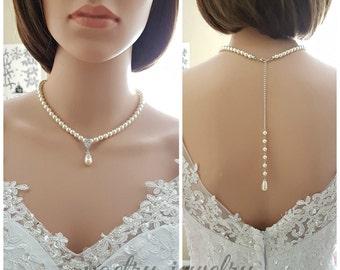 Wedding Pearl Necklace, Bridal Jewelry, Pearl Backdrop Necklace, White, Cream, Pearl Bridal Necklace, Pearl Wedding Jewelry, Aria