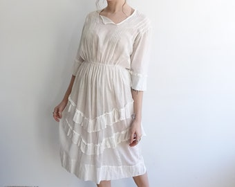 Antique Edwardian Lawn Dress/ White Cotton Sheer Ruffle 1900s 1910s /Wedding Dress/ small 27