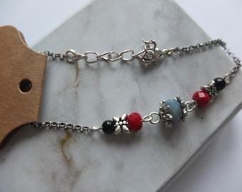 Bracelet silver gray, red and onyx (BrA03)