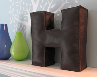 Soft Sculpture, Letter Pillow, Leather, Stuffed Letter, Shelf Decor