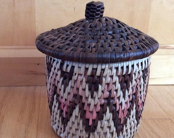 traditional herb container woven lidded basket
