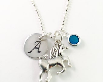 Personalized Unicorn Necklace, Initial unicorn necklace, personalized jewelry, unicorn necklace, girl gift, gift for her