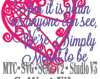 SVG Cut File Jack & Sally Valentine Simply Meant to Be with Heart Set #04 Haunted Mansion  Cut Files MTC Silhouette SCAL