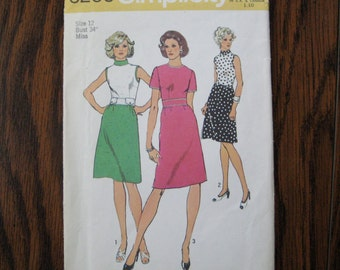 1974 Going-to-Work Dress Uncut Vintage Pattern, Simplicity 6209, Size 12, Bust 34