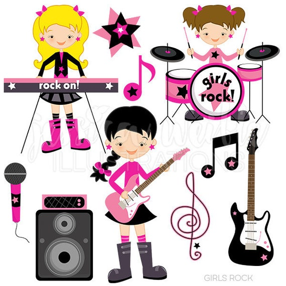 girls rock cute digital clipart commercial use ok rockstar rh etsy com classic rock band clipart rock band stage clipart