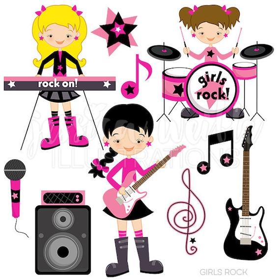 girls rock cute digital clipart commercial use ok rockstar rh etsy com rock star clip art free rock star clip art black and white