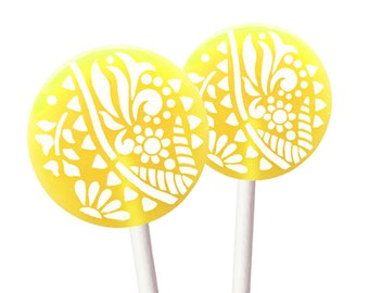 Party Gifts, Bridal Shower, Baby Shower, Birthday Candy - Lemon Lime - 8 Lollipops with Ribbon