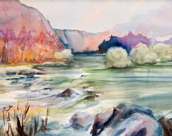 Watercolor - Giclee Print- Landscape - River -  Blue  -Nature  - Wall Art - Horizontal - Calm - Lake