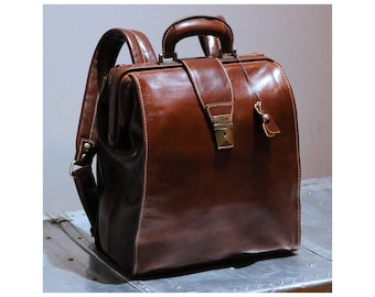 Leather Backpack, Leather Knapsack, Leather Briefcase Backpack, Brown Leather Backpack, Floto Ciabatta Backpack (4522BROWN)