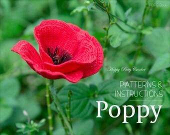 Crochet Poppy Pattern - Crochet Flower Pattern - Poppy Flower Pattern - Crochet Flanders Poppy