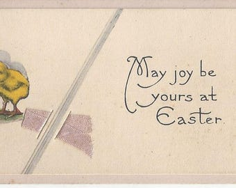 Vintage Easter Greeting Card with Baby Chick, 1910s
