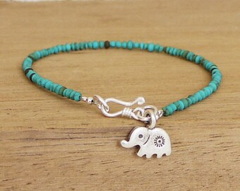Elephant bracelet / Turquoise and elephant charm bracelet / Friendship bracelet / Turquoise Bracelet / Simple Bracelet