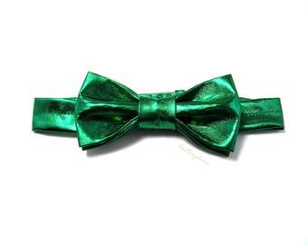 Conor - Green Metallic Adjustable Bow Tie