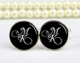 customized script fonts cufflinks, monogram cufflinks, custom text, photo, personalized cufflinks, custom wedding cufflink, groom cufflinks