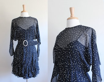 Vintage Long Sleeve Black Polka Dot Illusion Dress