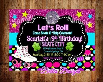Free Roller Skating Birthday Party Invitations ~ Unicorn roller skate party invitation unicorn invite