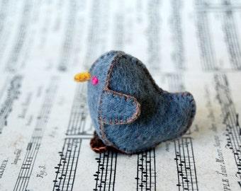 Grey Felted Baby Chicken Toy -- Handmade Felt Pure Wool Unique Baby Chicken