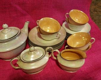Vintage Czech Deco Lusterware Tea Set