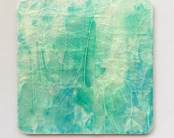 small format fine art painting // minimal watercolor blue and green