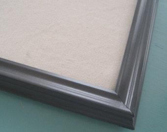 Dark Gray Pin Board Linen Bulletin Board Modern Framed Neutral Cork Board You Choose Color Many Sizes Office Magnetic Playroom Mudroom