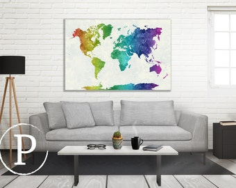 World Map in Watercolor, Vintage Style Map, World Map Wall Decor, World Map Art Print, World Map Wall Art, Watercolor Art, Watercolor Canvas