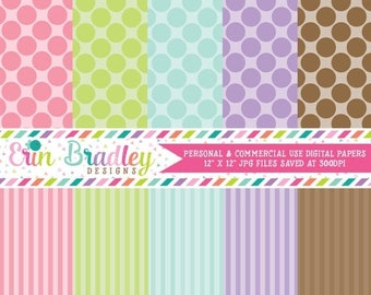 80% OFF SALE Digital Scrapbook Papers Personal and Commercial Use Pastel Polka Dots and Stripes