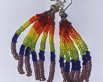 Rainbow earrings, seed bead tassle earrings, LGBTQ, Pride