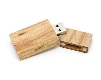 Set of 10 - 8GB/16GB Wooden Raw Unfinished Birch USB 2.0 Flash Drive - Bulk Pack - USB 2.0 Wood Birch Stick Design - Wood USB Flash Drive