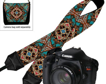 DSLR Camera Strap,   Padded Camera Strap,  Nikon Camera Strap, Canon Strap,  Camera Accessories, Boho Bohemian Mandala blue orange RTS
