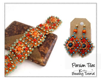 Right Angle Weave Bracelet Beading Pattern Embellished Square Tiles Pattern and InstructionsDIY Seed Bead Jewelry Tutorials  PERSIAN TILES