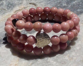Rhodonite Mala Bracelet- prayer beads- pink - 54 beads