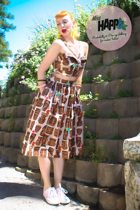 Rockabilly Dresses | Rockabilly Clothing | Viva Las Vegas Edith Tiki SkirtEdith Tiki Skirt $64.00 AT vintagedancer.com