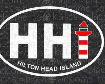 "Custom Hilton Head vinyl car decal - 3""x5"""