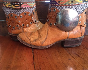 Tony Lama upcycled ostrich western cowboy boots women's size 9
