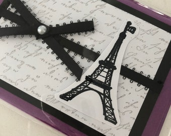 Hand-stamped Eiffel Tower Card