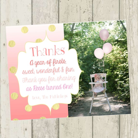 Pink ombre thank you card first birthday thank you card like this item bookmarktalkfo Image collections