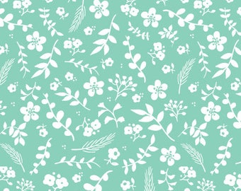 Sweet Prairie Fabric -  Floral in Teal - fat quarter / yardage