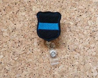 Badge Reels, POLICE Badge Reel, Felt Badge Reel, Retractable ID Name Holder, Nurse Badge,  Teacher Gift, 669