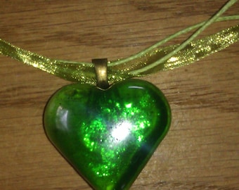Cute green ribbon necklace with green heart pendant