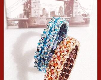 Photo Tutorial ENG- Ita ,DIY bracelet,*Calien* bracelet ,PDF Pattern 56 with swarovski,tila and seed beads