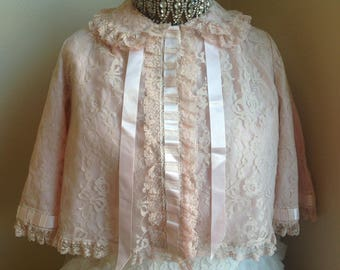 Unbelievably gorgeous vintage pink lace and ribbon boudoir bed jacket