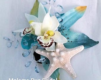 Beach Wedding TROPICAL HAIR CLIP Hawaiian Orchids silk flowers Bridal Hair piece, Headpiece, Hair Accessory, Bridesmaid, Wedding, Starfish